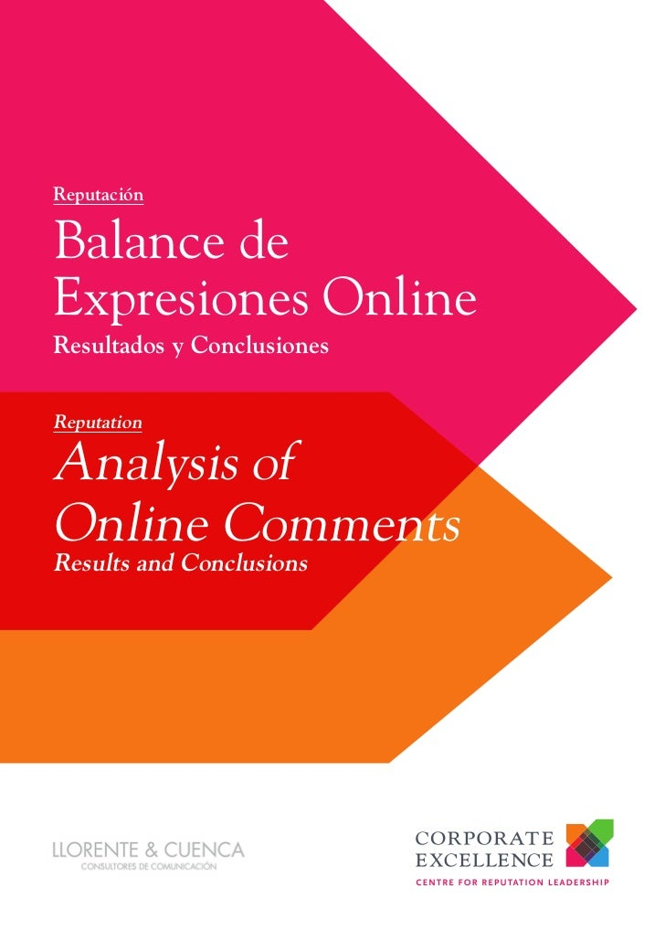 ReputaciónBalance deExpresiones OnlineResultados y ConclusionesReputationAnalysis ofOnline CommentsResults and Conclusions
