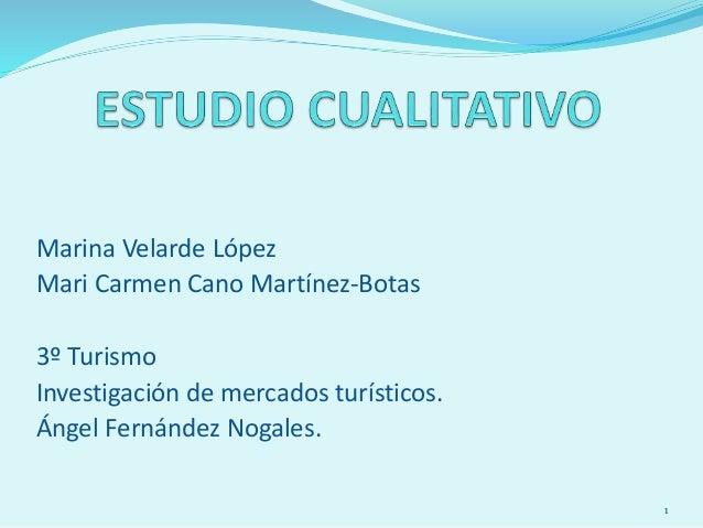 Marina Velarde López Mari Carmen Cano Martínez-Botas 3º Turismo Investigación de mercados turísticos. Ángel Fernández Noga...