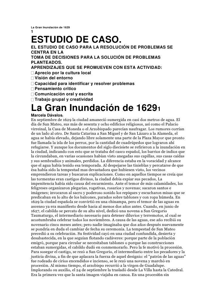 La Gran Inundación de 1629<br />1<br />ESTUDIO DE CASO.<br />EL ESTUDIO DE CASO PARA LA RESOLUCIÓN DE PROBLEMAS SE CENTRA ...