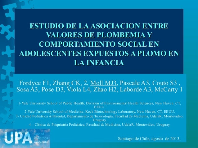 ESTUDIO DE LAASOCIACION ENTREESTUDIO DE LAASOCIACION ENTRE VALORES DE PLOMBEMIA YVALORES DE PLOMBEMIA Y COMPORTAMIENTO SOC...