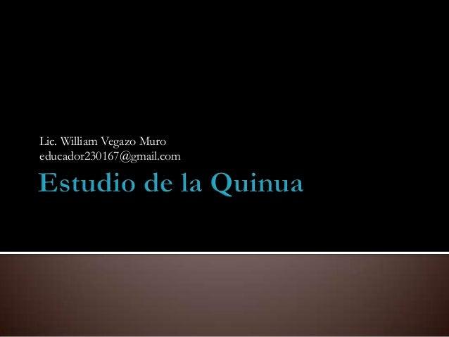Lic. William Vegazo Muroeducador230167@gmail.com