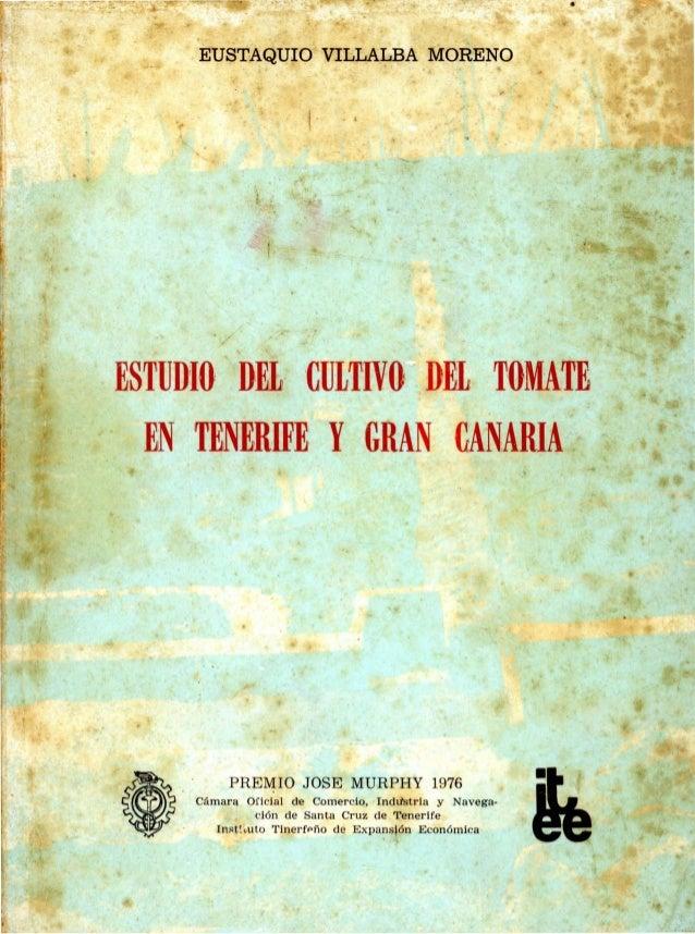 ESTUDIO DELI 'CULTIVO DEL: TOMATE EN 'TENERIFE, YGRAN ,GANARlA ,.. EUSTAQUIO VILLALBA MORENO . / O · PREMIO JOSE MURPHY 19...