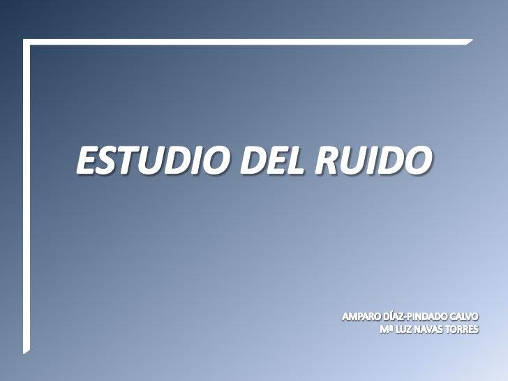 ESTUDIO DEL RUIDO<br />AMPARO DÍAZ-PINDADO CALVO<br />Mª LUZ NAVAS TORRES<br />