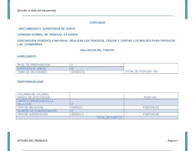 [Escribir el título del documento]                                                 CORTADORJEFE INMEDIATO: SUPERVISOR DE C...