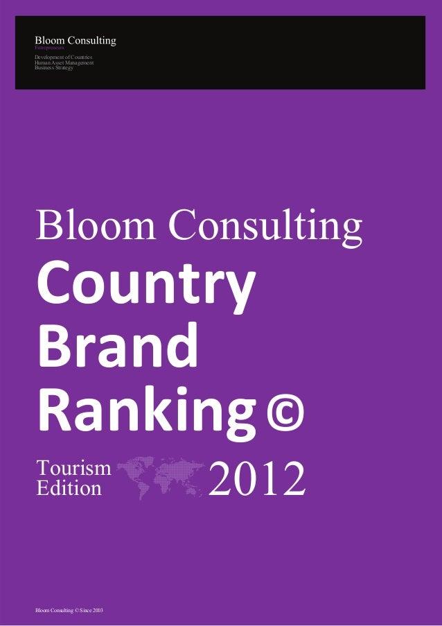 Estudio de Marcas Turisticas en el mundo 2012 (Bloom Consulting)