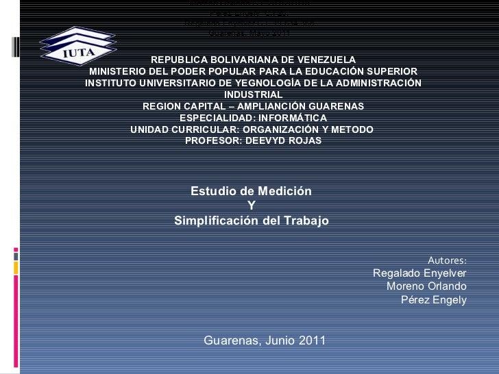 REPUBLICA BOLIVARIANA DE VENEZUELA MINISTERIO DEL PODER POPULAR PARA LA EDUCACIÓN SUPERIOR INSTITUTO UNIVERSITARIO DE YEGN...
