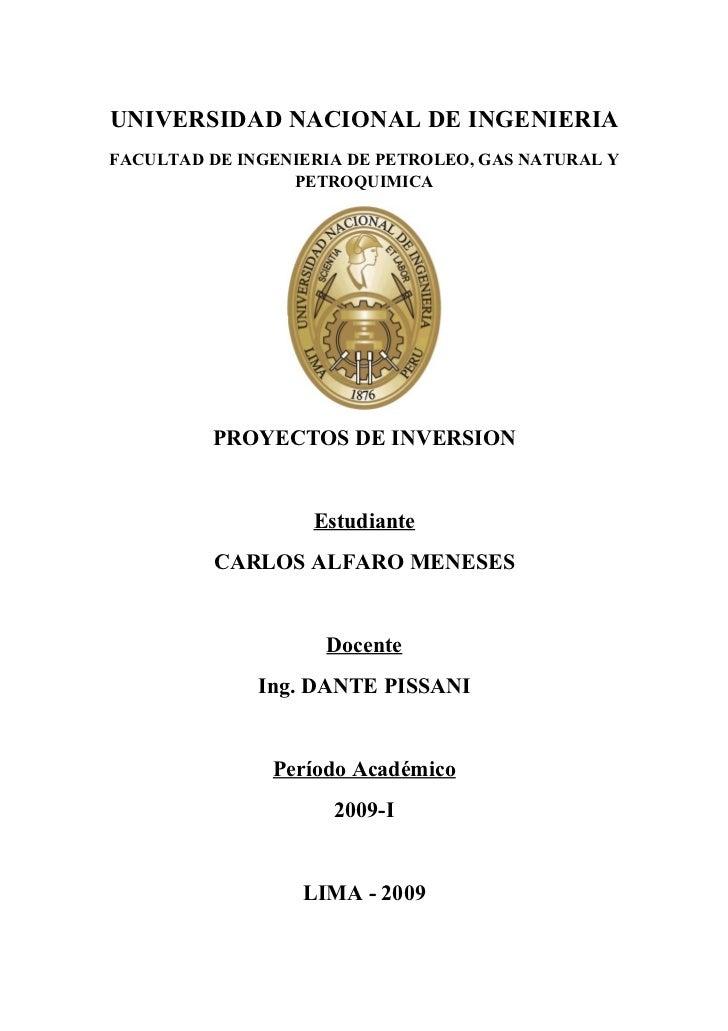 UNIVERSIDAD NACIONAL DE INGENIERIA FACULTAD DE INGENIERIA DE PETROLEO, GAS NATURAL Y                  PETROQUIMICA        ...