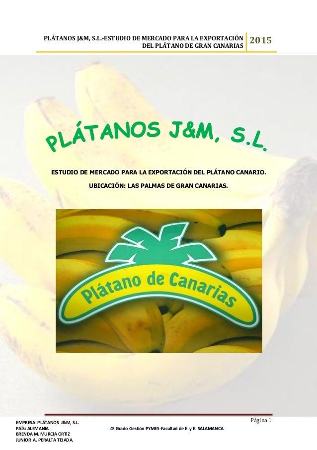 PLÁTANOS J&M, S.L.-ESTUDIO DE MERCADO PARA LA EXPORTACIÓN DEL PLÁTANO DE GRAN CANARIAS 2015 Página 1EMPRESA: PLÁTANOS J&M,...