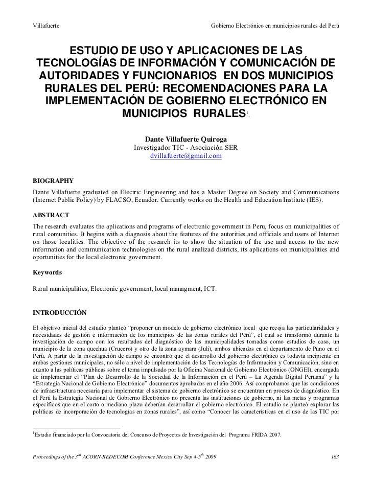 Estudio de uso y aplicaciones de las tecnologías de información y comunicación de autoridades y funcionarios en dos municipios rurales del perú   dante villafuerte quiroga (2009)