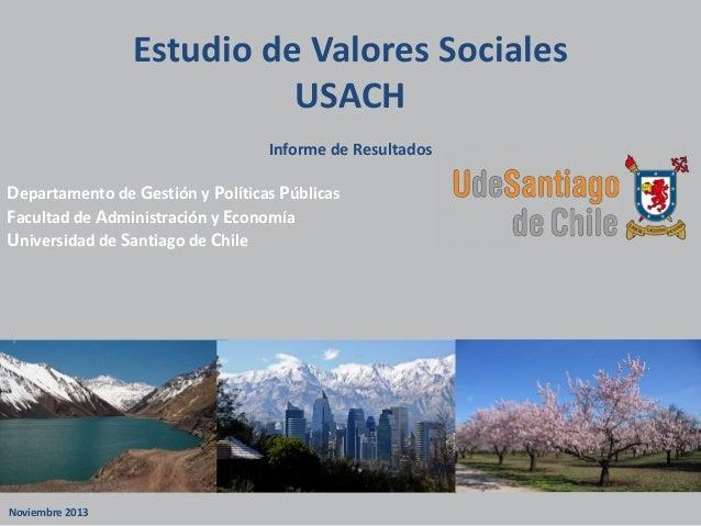 Estudio USACH de Valores Sociales 2013