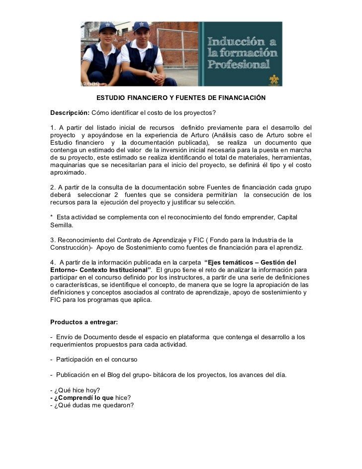 Estudio financiero y fuentes de financiacion