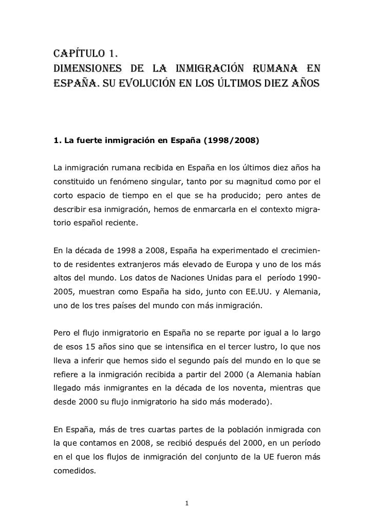 Estudio sobre la Inmigración Rumana en España