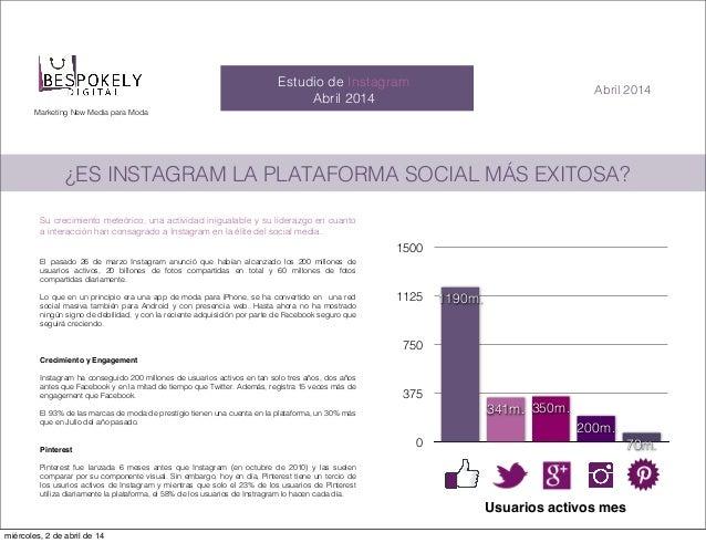 Marketing New Media para Moda Estudio de Instagram Abril 2014 Abril 2014 ¿ES INSTAGRAM LA PLATAFORMA SOCIAL MÁS EXITOSA? S...