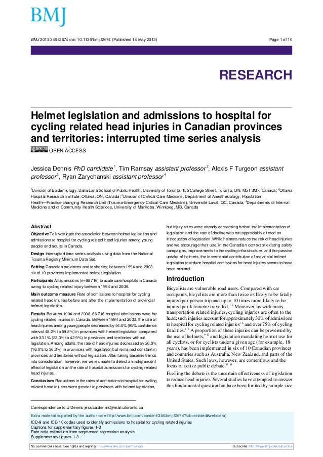 BMJ 2013;346:f2674 doi: 10.1136/bmj.f2674 (Published 14 May 2013)  Page 1 of 10  Research  RESEARCH Helmet legislation and...