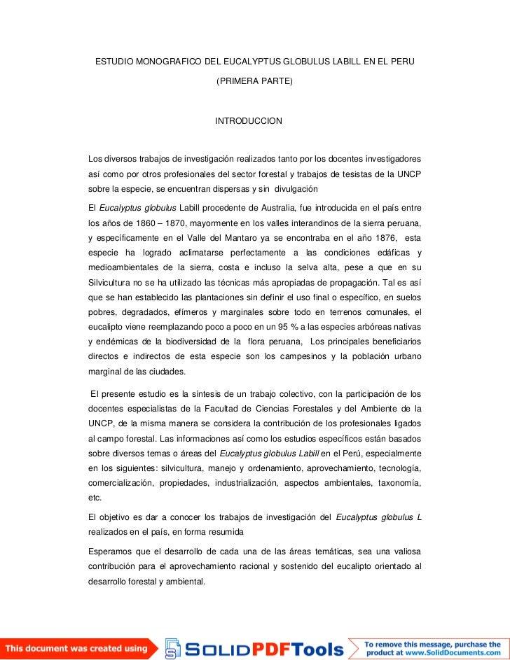 ESTUDIO MONOGRAFICO DEL EUCALYPTUS GLOBULUS LABILL EN EL PERU                                   (PRIMERA PARTE)           ...