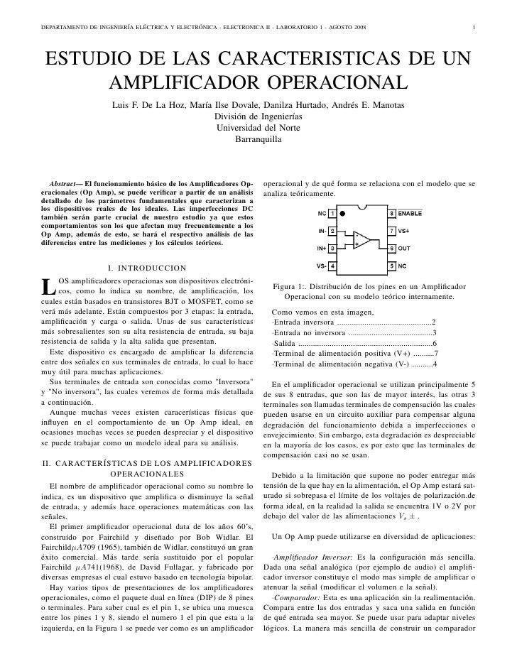 DEPARTAMENTO DE INGENIERÍA ELÉCTRICA Y ELECTRÓNICA - ELECTRONICA II - LABORATORIO 1 - AGOSTO 2008                         ...
