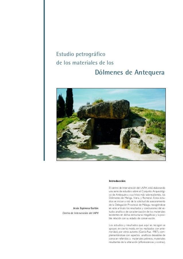 Estudio petrográfico de los materiales de los Dólmenes de Antequera