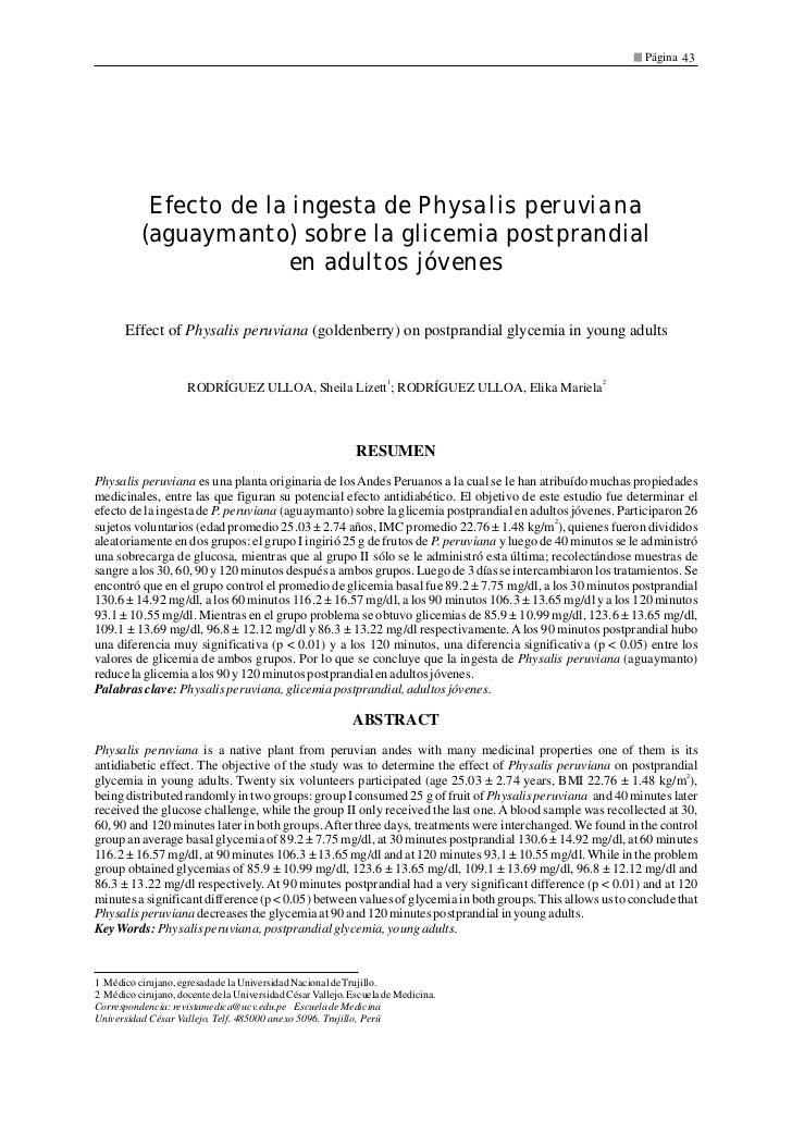 Página 43            Efecto de la ingesta de Physalis peruviana           (aguaymanto) sobre la glicemia postprandial     ...