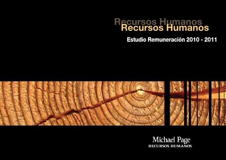 Recursos Humanos  Recursos Humanos   Estudio Remuneración 2010 - 2011