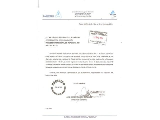 Estudios Calidad de Agua Municipio Tepeji del Rio, estado de Hidalgo, Enero 2014  INFOPLACITUM