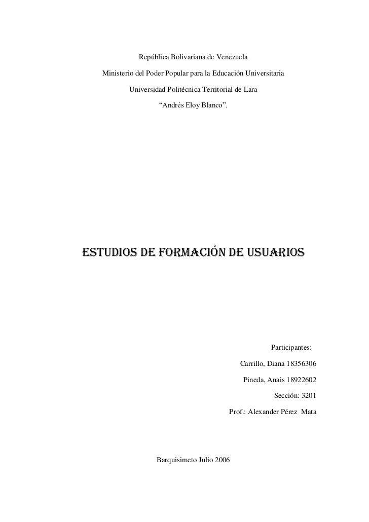 República Bolivariana de Venezuela<br />Ministerio del Poder Popular para la Educación Universitaria<br />Universidad Poli...