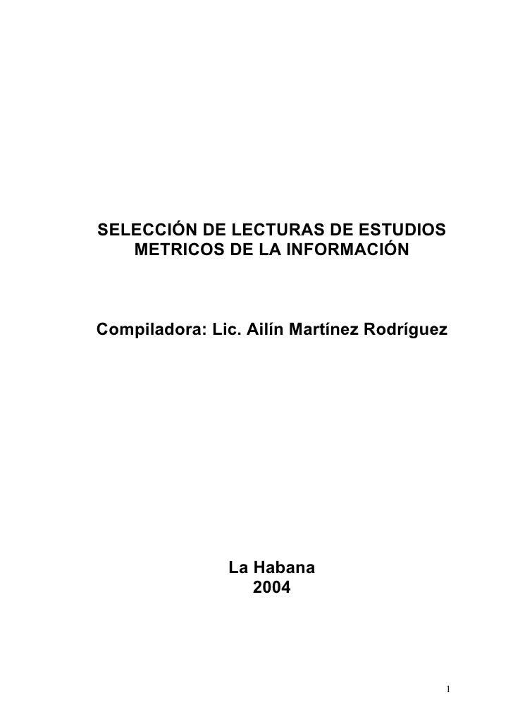 Estudios metricos (impacto cientifico)