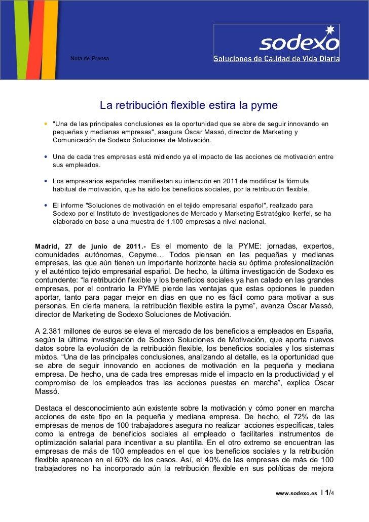 Estudio Sodexo sobre retribución flexible (Sodexo) - JUN11