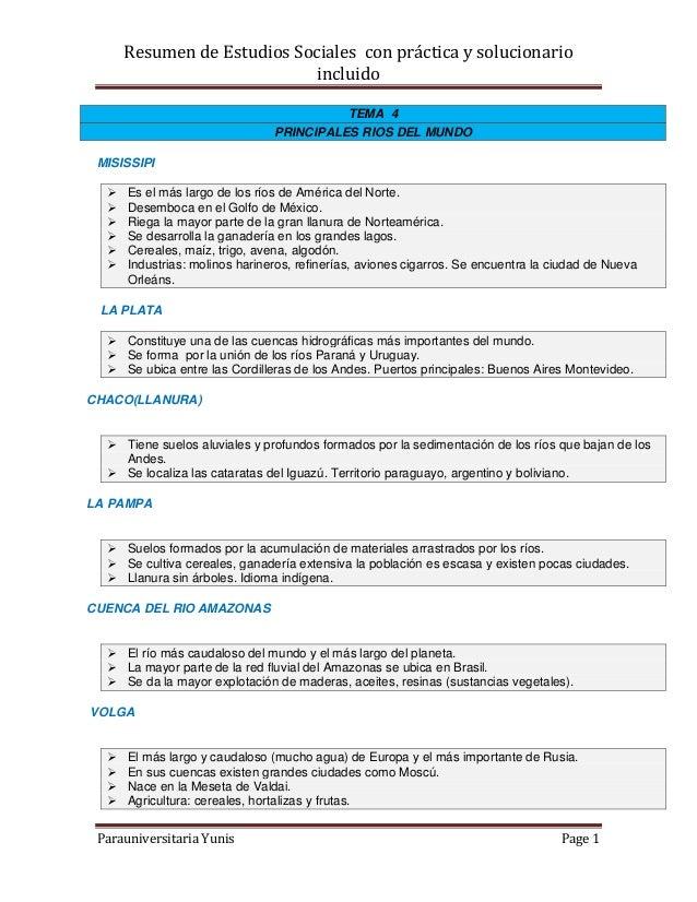 Resumen de Estudios Sociales con práctica y solucionarioincluidoParauniversitaria Yunis Page 1TEMA 4PRINCIPALES RIOS DEL M...