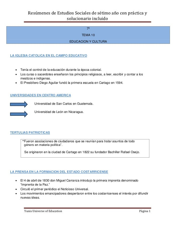 Resúmenes de Estudios Sociales de sétimo año con práctica y                            solucionario incluido              ...