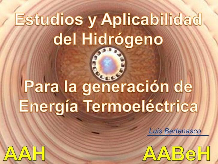 Estudios y aplicabilidad del hidrógeno para la generación de energía térmica   luis bertenasco