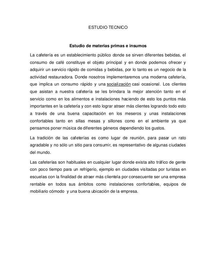 Estudio tecnico cafeteria - Proyecto bar cafeteria ...