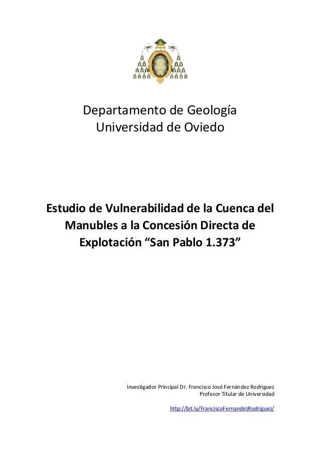 DepartamentodeGeología UniversidaddeOviedo       EstudiodeVulnerabilidaddelaCuencadel Manubl...