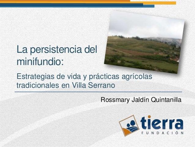 La persistencia delminifundio:Estrategias de vida y prácticas agrícolastradicionales en Villa Serrano                     ...