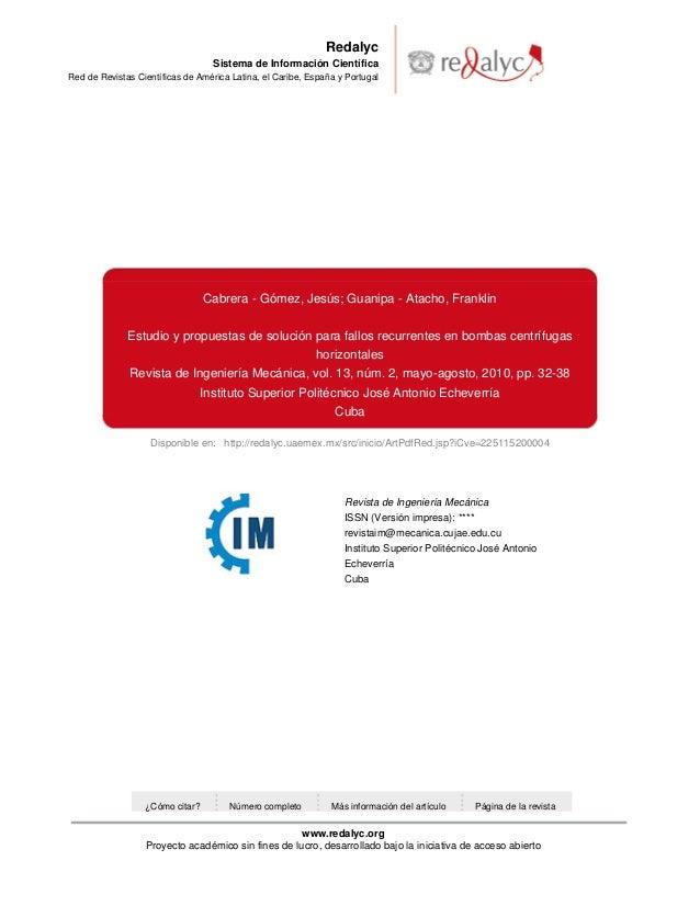 Redalyc Sistema de Información Científica Red de Revistas Científicas de América Latina, el Caribe, España y Portugal  Cab...