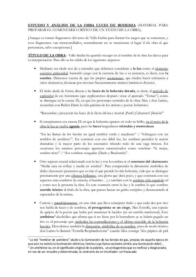 ESTUDIO Y ANÁLISIS DE LA OBRA LUCES DE BOHEMIA (MATERIAL PARA PREPARAR EL COMENTARIO CRÍTICO DE UN TEXTO DE LA OBRA). [Aun...