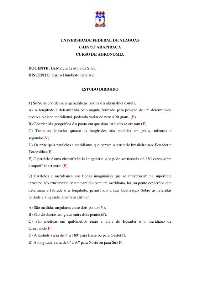 UNIVERSIDADE FEDERAL DE ALAGOAS                                CAMPUS ARAPIRACA                              CURSO DE AGRO...