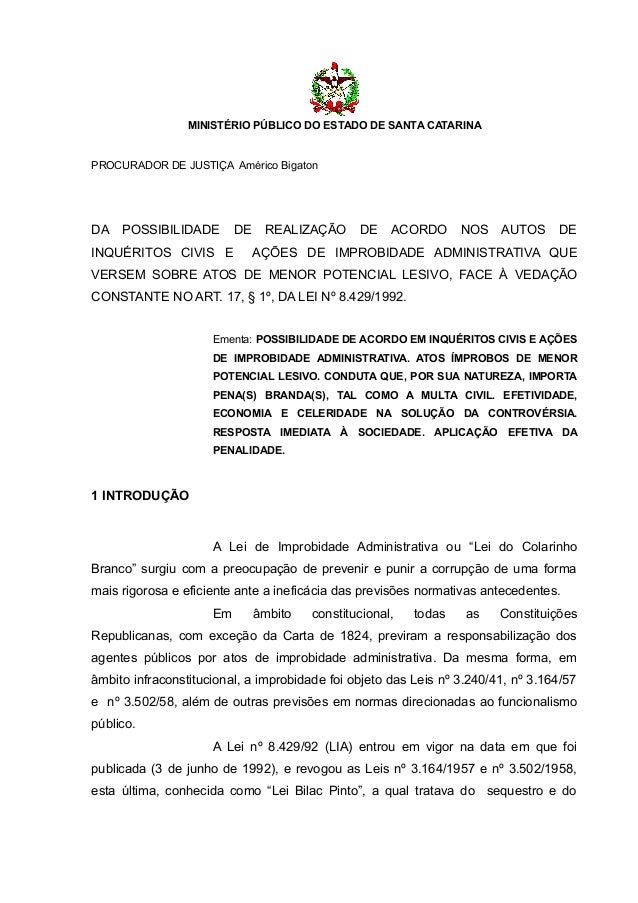 MINISTÉRIO PÚBLICO DO ESTADO DE SANTA CATARINAPROCURADOR DE JUSTIÇA Américo BigatonDA   POSSIBILIDADE        DE    REALIZA...