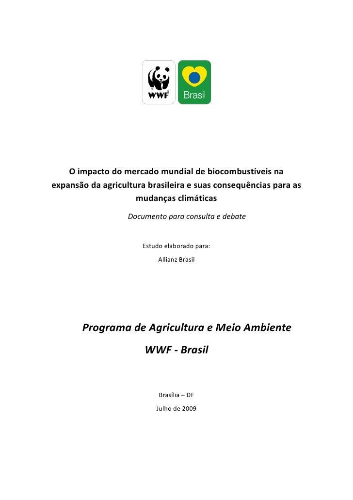 O mercado mundial de biocombustíveis na expansão da Agricultura Brasileira e suas conseqüências para as mudanças climáticas Impacto Ambiental