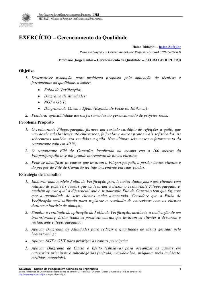 PÓS-GRADUAÇÃO EM GERENCIAMENTO DE PROJETOS - UFRJ                    SEGRAC – NÚCLEO DE PESQUISA EM CIÊNCIAS DA ENGENHARIA...