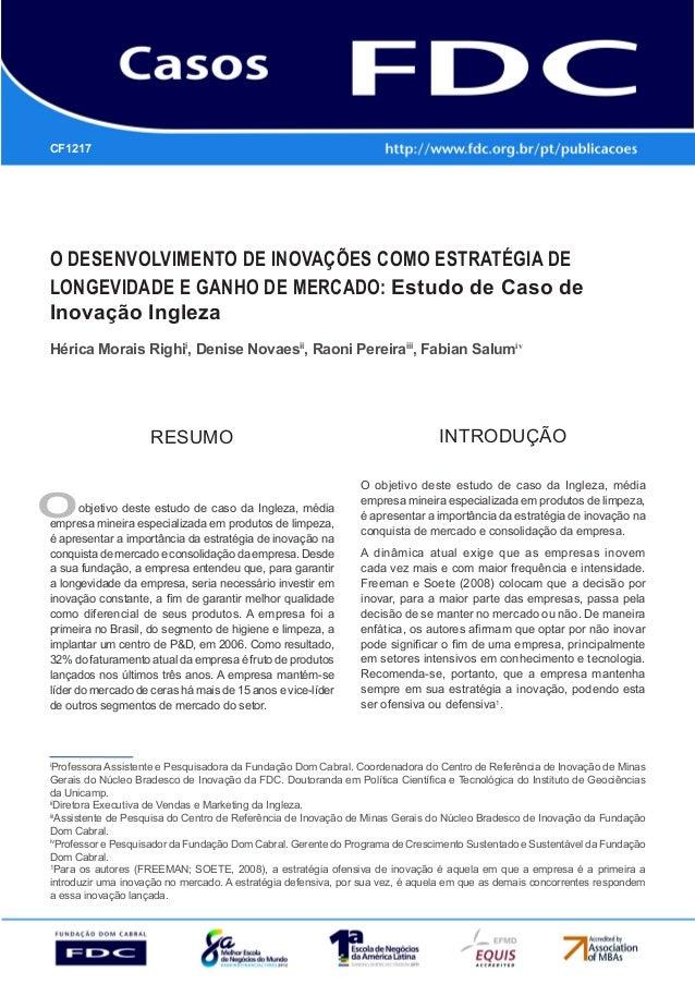 O desenvolvimento de inovações como estratégia de longevidade e ganho de mercado: Estudo de caso de inovação Ingleza