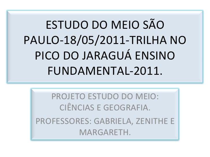 ESTUDO DO MEIO SÃO PAULO-18/05/2011-TRILHA NO PICO DO JARAGUÁ ENSINO FUNDAMENTAL-2011. PROJETO ESTUDO DO MEIO: CIÊNCIAS E ...