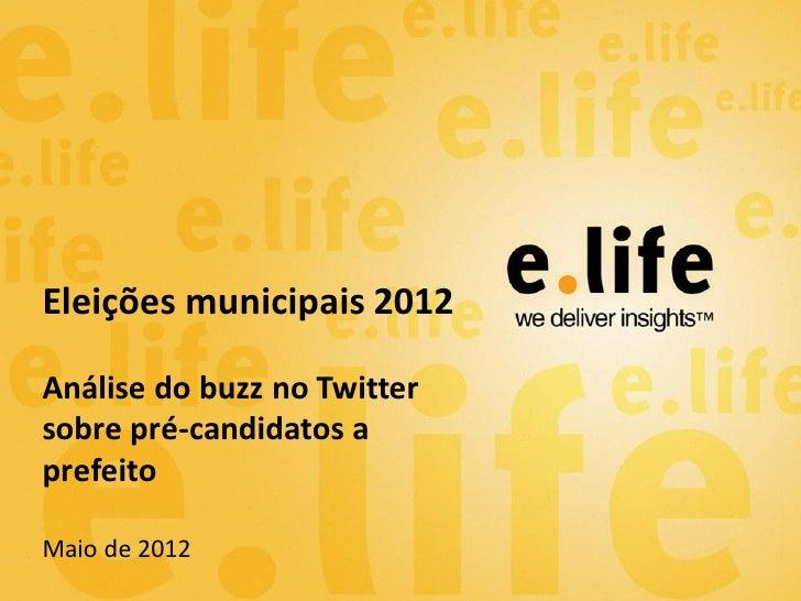 Eleições municipais 2012Análise do buzz no Twittersobre pré-candidatos aprefeitoMaio de 2012