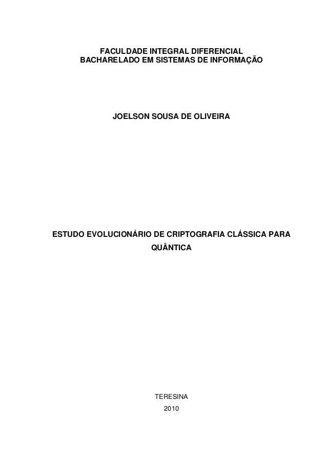 Estudo evolucionário de criptografia clássica para quântica   joelson, sousa de o. (monografia)