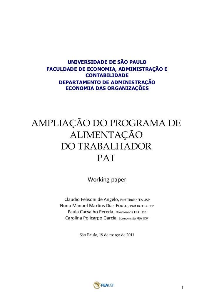 UNIVERSIDADE DE SÃO PAULO  FACULDADE DE ECONOMIA, ADMINISTRAÇÃO E              CONTABILIDADE      DEPARTAMENTO DE ADMINIST...