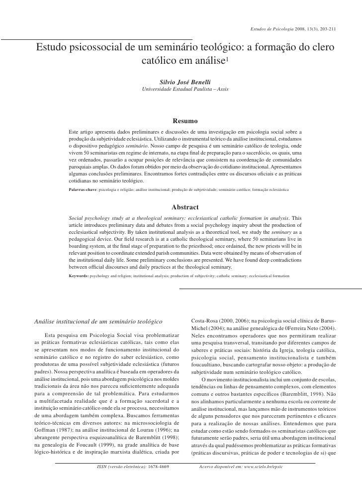 Estudos de Psicologia 2008, 13(3), 203-211Estudo psicossocial de um seminário teológico: a formação do clero              ...