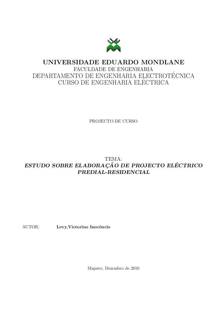 Estudo sobre elaboracao de projecto electrico