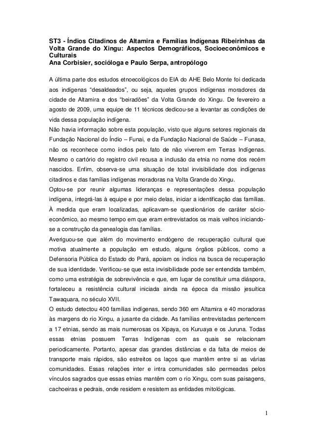 ESTUDOS DE VIABILIDADE ÍNDIOS CITADINOS UHE BELO MONTE-Mirella Poccia 2009