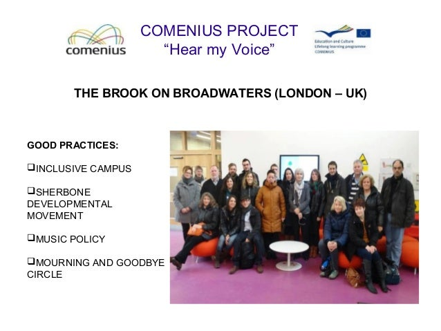 "COMENIUS PROJECT ""Hear my Voice"" THE BROOK ON BROADWATERS (LONDON – UK) GOOD PRACTICES: INCLUSIVE CAMPUS SHERBONE DEVELO..."
