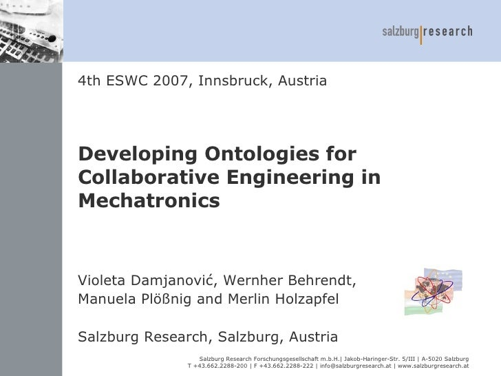 Developing Ontologies for Collaborative Engineering in Mechatronics