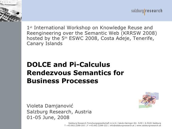 DOLCE and Pi-Calculus  Rendezvous Semantics  for  Business Processes  Violeta Damjanović Salzburg Research,   Austria 01-0...